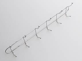 Длина 48 см. Вешалка ВНТ6  настенная металл в хромированном покрытии на 6 крючков, фото 3