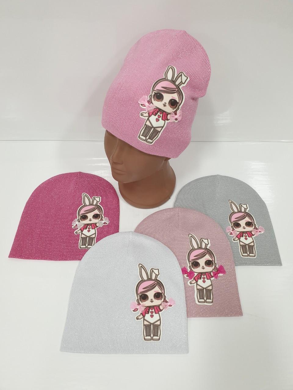 Детские демисезонные вязаные шапки для девочек оптом, р.48-50, ANPA (Польша)