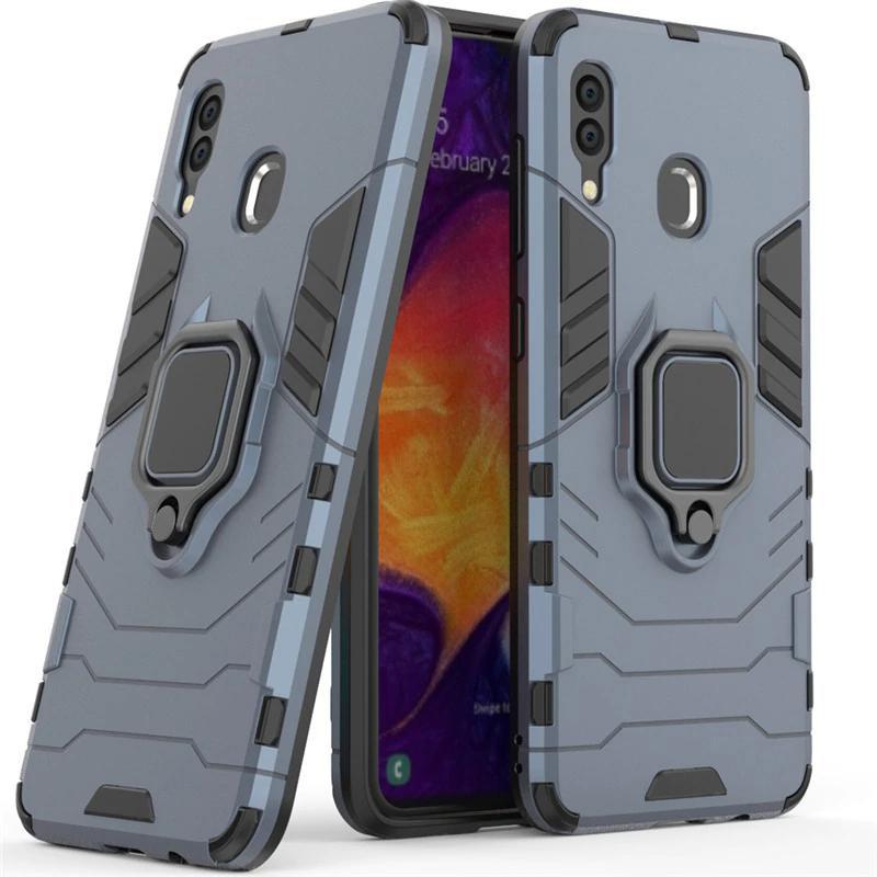 Чехол Samsung ударопрочный Transformer Ring под магнитный держатель для Samsung Galaxy A20 / A30 Серый / Metal slate
