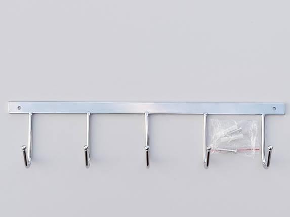 Длина 33 см. Вешалка ВНД5  настенная металл в хромированном покрытии на 5 крючков, фото 2