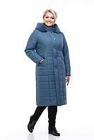 Пальто зимнее из плащевки, мех иск. кролик, наполнитель силикон. Качество! Размер 60 (серо-синий) код 3727М