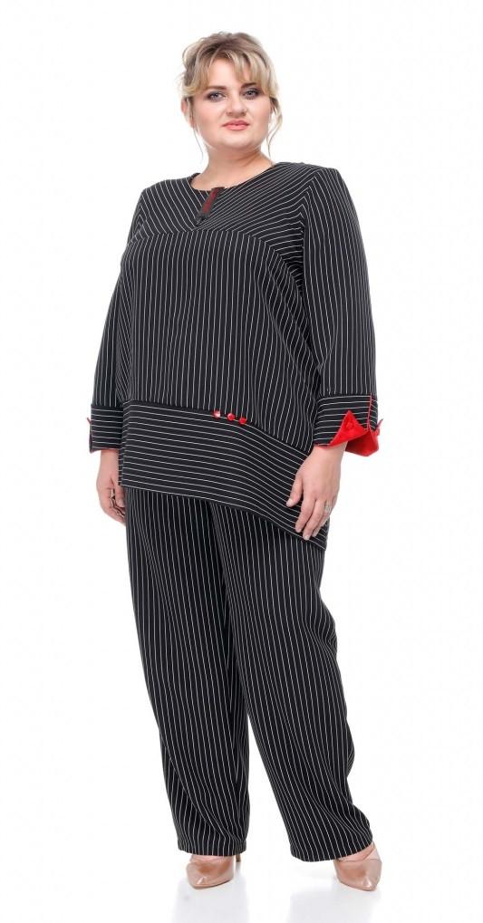 Брючный женский костюм размера плюс Турин черный (62-72)