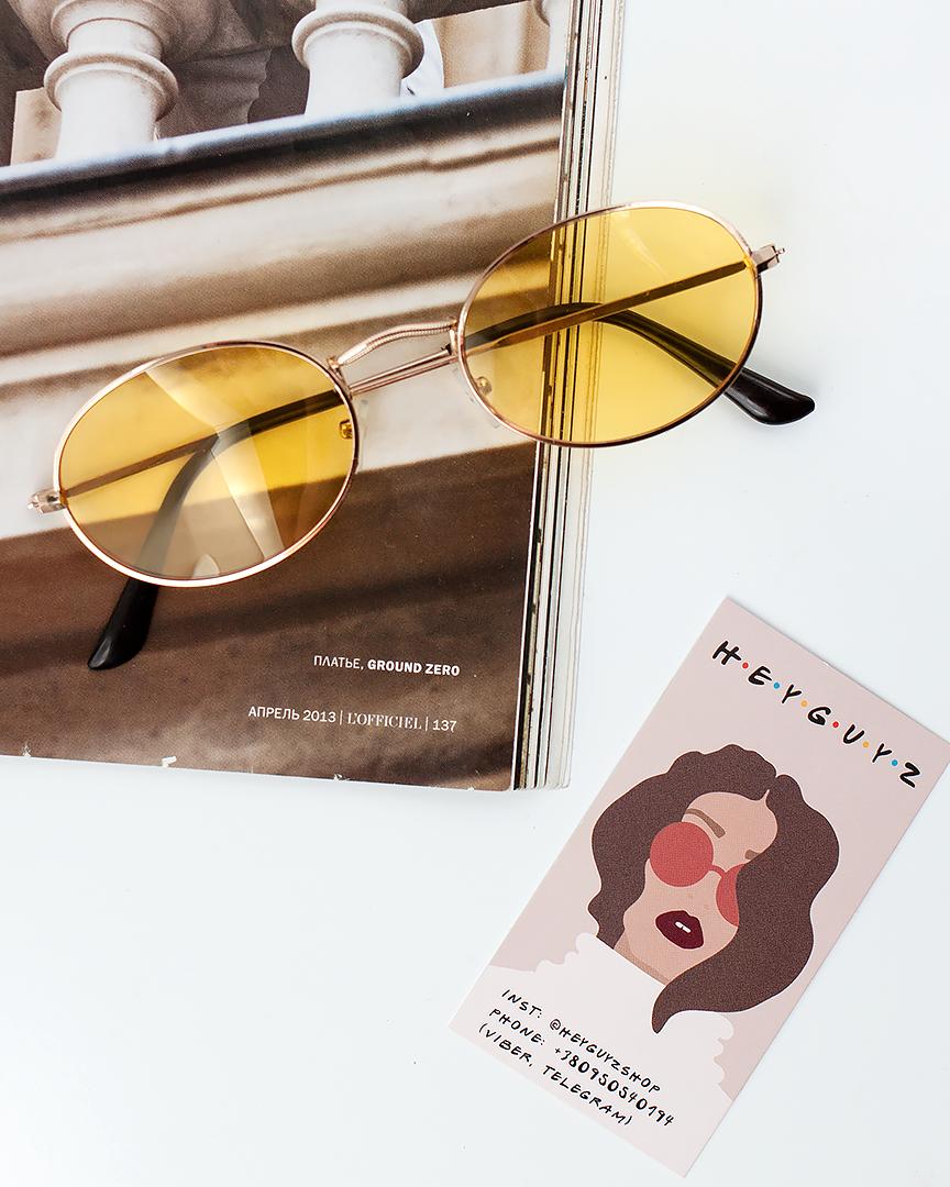 Солнцезащитные очки женские желтые стеклянные овальные в