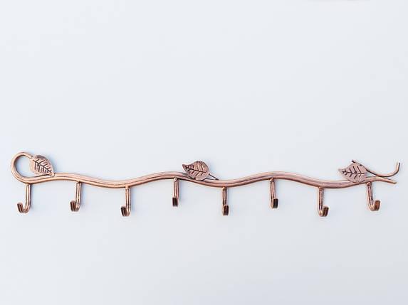 Длина 63,5 см. Вешалка ВНЛ8  настенная металл бронзового цвета в виде лозына 8крючков, фото 2