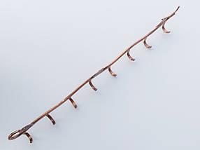 Длина 63,5 см. Вешалка ВНЛ8  настенная металл бронзового цвета в виде лозына 8крючков, фото 3