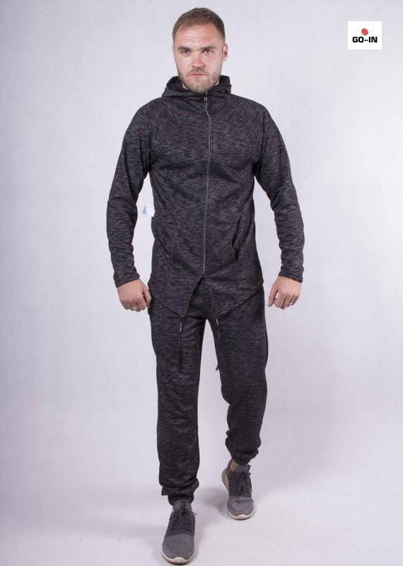 Молодіжний спортивний костюм чоловічий теплий чорний 44-54р