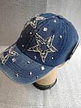Кепка джинсовая с камнями для девочки, фото 2