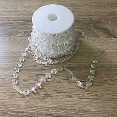 Бусины-кристаллы на нити прозрачные с перламутром 10 м