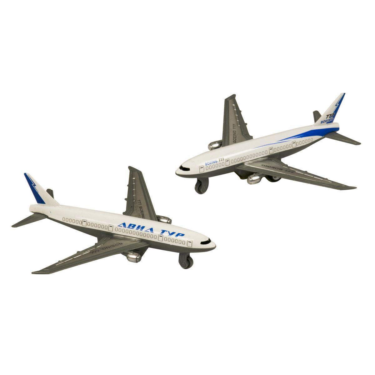 Самолет металлический BOEING 777, инерционный