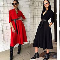 Платье женское повседневное, офисное, длина ниже колена, стильное, с карманами и кожаным поясом в комплекте
