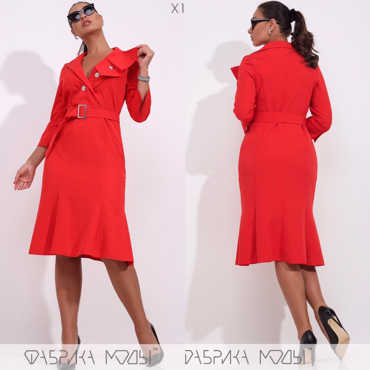 Батальное платье миди, красный