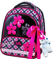 Ранец школьный для девочек De Lune 9-113 чёрно розовый