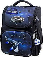 Ранец рюкзак школьный каркасный для мальчиков 1 - 3 класс Winner-stile 3D ортопедическая спинка синий