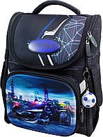 Ранец рюкзак школьный каркасный для мальчиков 1 - 3 класс Winner-stile 3D ортопедическая спинка синий с черным