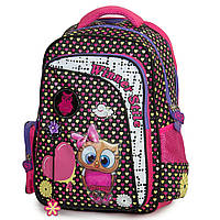 Рюкзак школьный для девочек Winner-stile для младших и средних классов 3D ортопедический розовый с черным