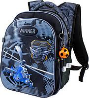 Рюкзак школьный для мальчиков Winner-stile 8006 чёрный с серым