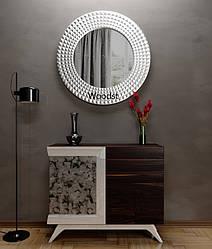 Зеркало настенное круглое Madrid серебряное