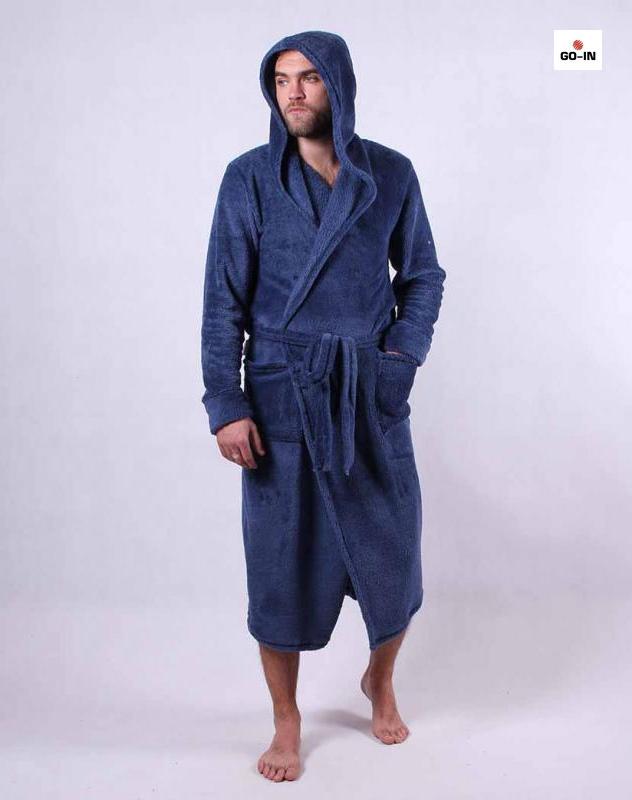 Халат мужской махровый теплый с капюшоном синий