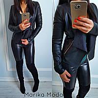 Куртка из эко-кожи на замше косуха черная.