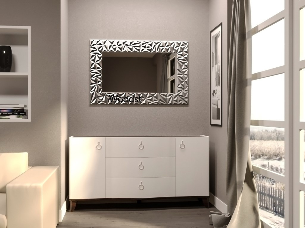 Зеркало прямоугольное настенное в серебряной раме Verona