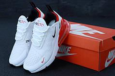 Женские кроссовки Nike Air Max 270 White Red. ТОП Реплика ААА класса.