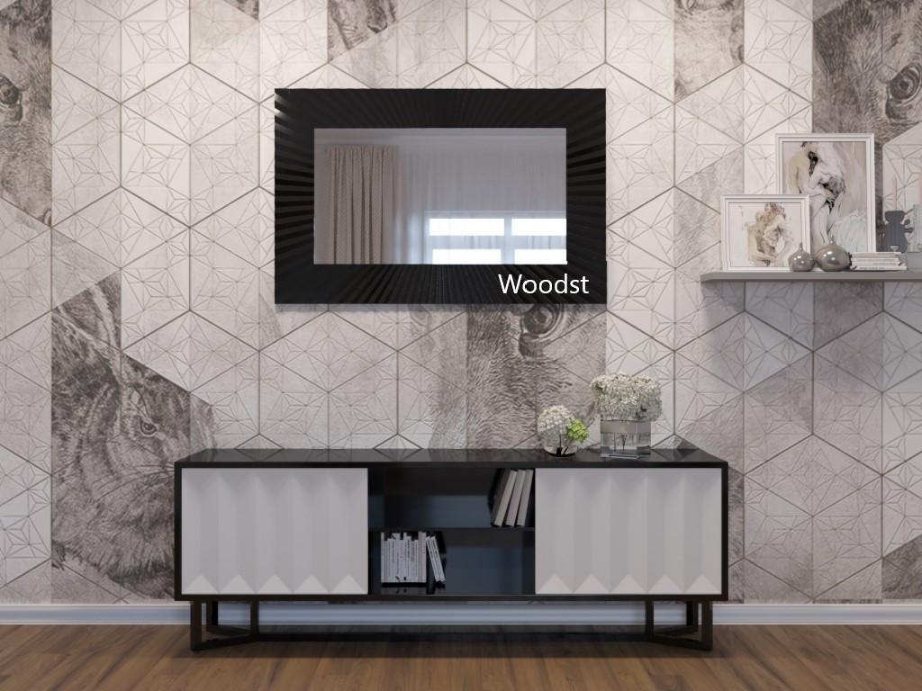 Дзеркало настінне прямокутне в чорній рамі Donato