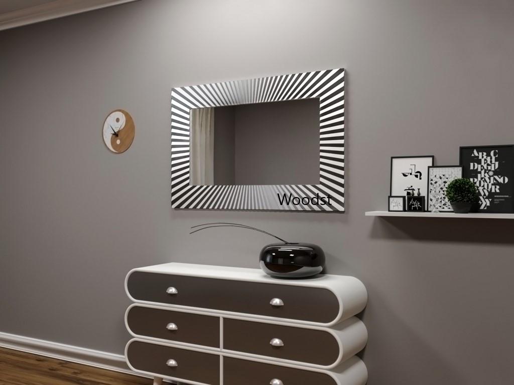 Зеркало прямоугольное настенное в серебряной раме Donato