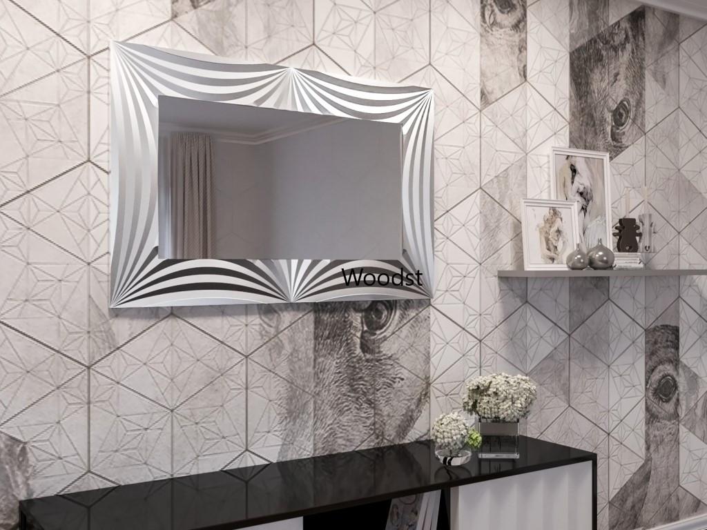 Зеркало прямоугольное настенное в серебряной раме Amaro