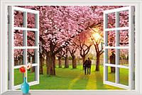 Интерьерные фото обои на стену Пара в саду сакуры