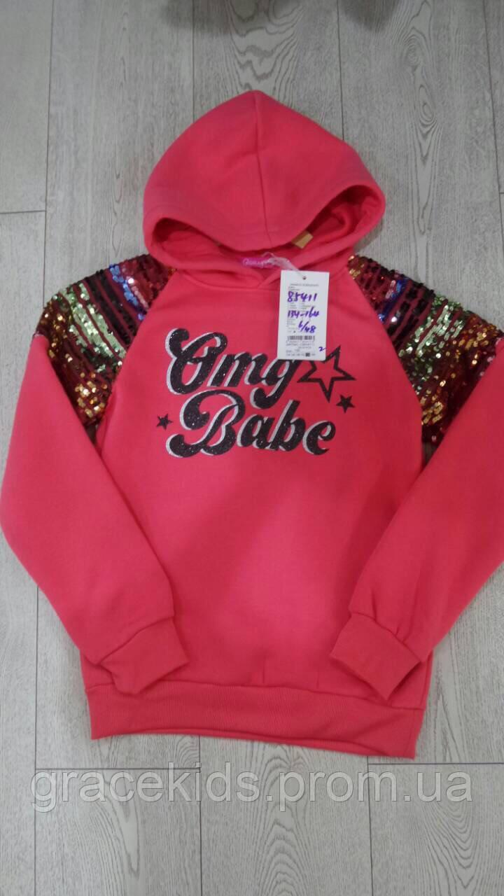 Модные кофты для девочек с капюшоном подростковые GRACE,разм 134-164 см