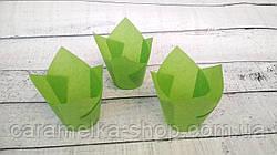 Формы бумажные для кексов Тюльпан 50*75 мм, Зеленые