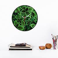 Настенные часы Листок мяты Круглые зеленые часы Зеленые листья Часы с белой стрелкой Часы с наклейкой 30 см