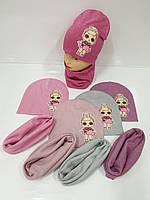 Детские демисезонные вязаные шапки со снудом для девочек оптом, р.50-52, ANPA (Польша), фото 1