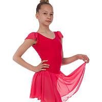 Платье для танцев (бейсик) корот. рукав фонарик малин CHD01-M (хлопок, шифон, р-р M-XL, рост-122-165см)