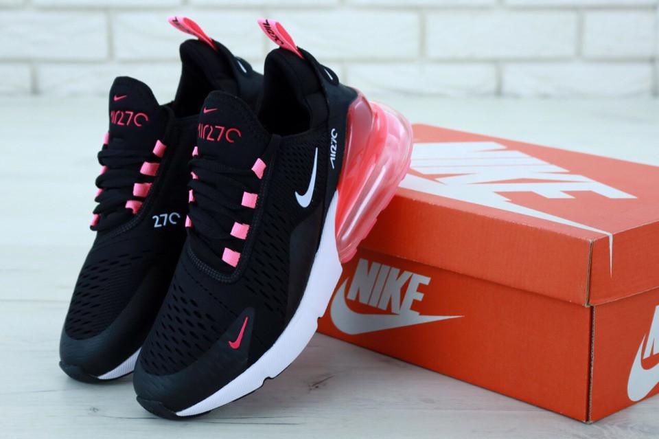 Женские кроссовки Nike Air Max 270 Black White. ТОП Реплика ААА класса.