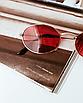 Солнцезащитные очки красные стеклянные овальные, фото 3