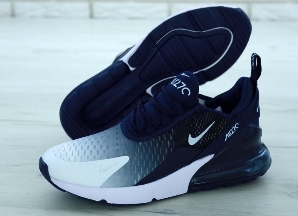 Мужские кроссовки Nike Air Max 270 Blue White. ТОП Реплика ААА класса.