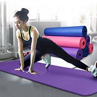 Коврик-Мат для йоги и фитнеса из вспененного каучука OSPORT Premium NBR 183х61см толщина 1см (FI-0075), фото 1