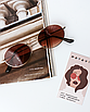 Солнцезащитные очки коричневые стеклянные овальные, фото 2