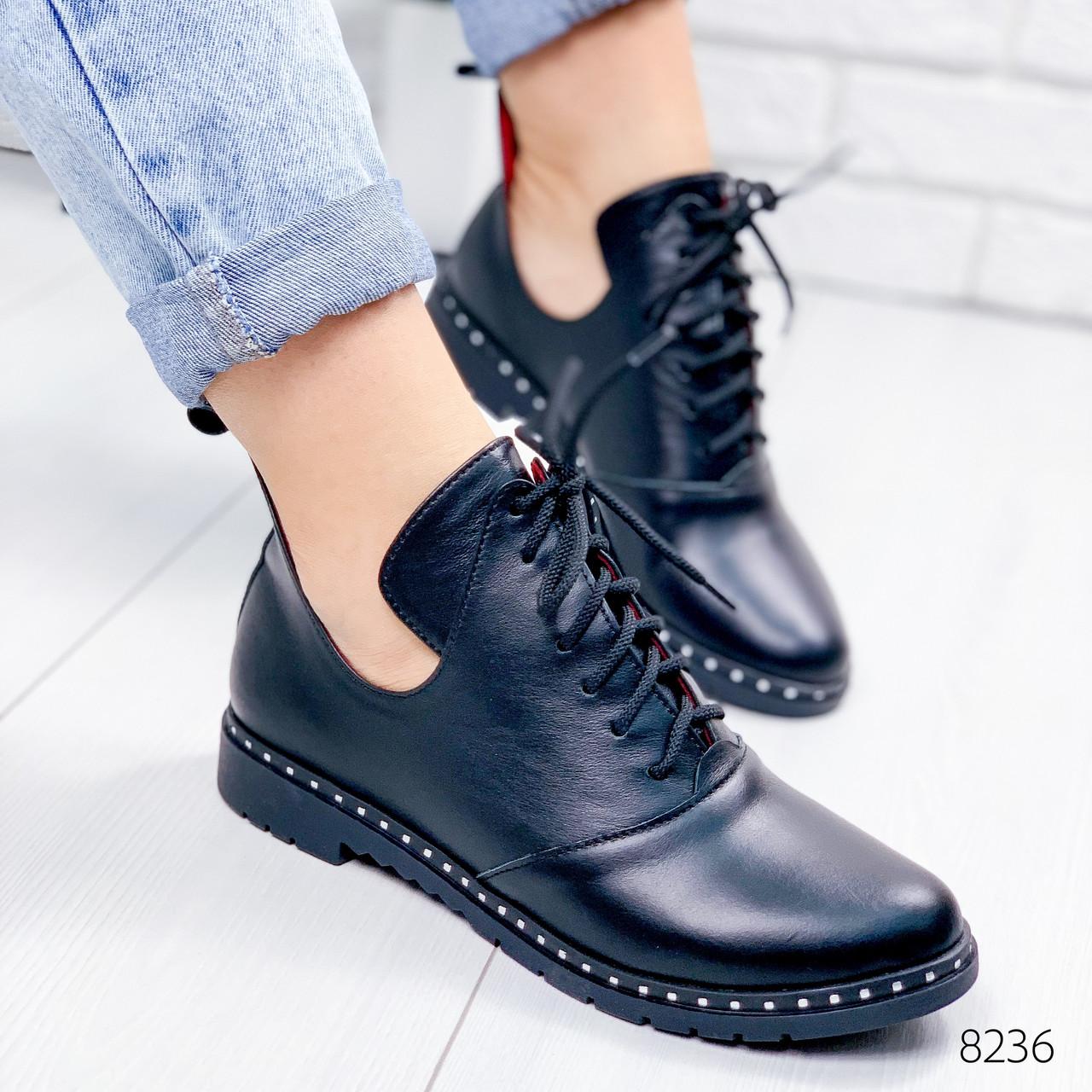 Ботинки женские Ella демисезонные черные натуральная кожа ))