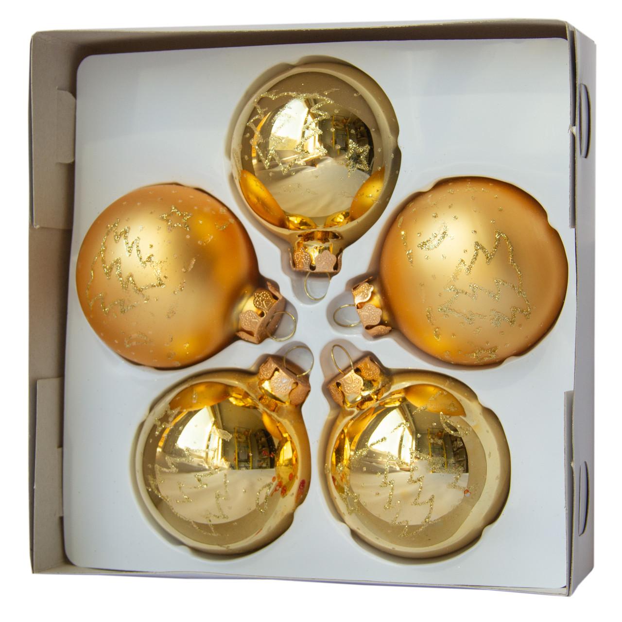 Набор елочных шаров с декором 6*5шт (3 гл., 2 мат.), стекло, золото елка (390304-6)