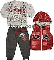Детский демисезонный костюм рост 68 (3-6 мес.) трикотаж серый на мальчика (комплект тройка с жилеткой) для новорожденных ТН-162