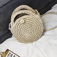 Маленькая круглая женская сумка Bali Bag бежевая, фото 1