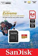 Карта памяти SanDisk 64GB microSDXC (SDSQXAF-064G-GN6AA) V30 A2 UHS-I U3 Extreme Action + SD адаптер, фото 1