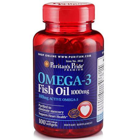 Омега 3 Рыбий жир Puritan's Pride Omega-3 Fish Oil, 100 softgels (срок годности до 09.2019 года)