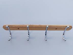 Длина 40 см. Вешалка ВНДХ4  настенная дерево+металл на 4 крючка, фото 2