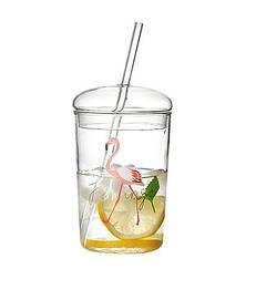 Склянку з трубочкою з термостійкого боросилікатного скла екологічний 500 мл