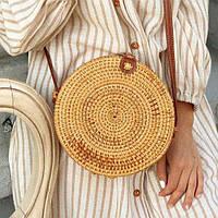 Женская плетеная ротанговая сумка Bali bag на кнопке