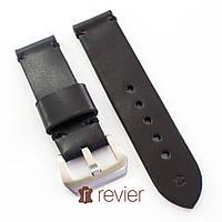 Ремешок для наручных часов Revier ручной работы из натуральной итальянской кожи черного цвета 22, 24, 26мм