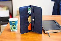 Мужской кошелек портмоне из натуральной кожи ручной работы Revier синий для денег и телефона